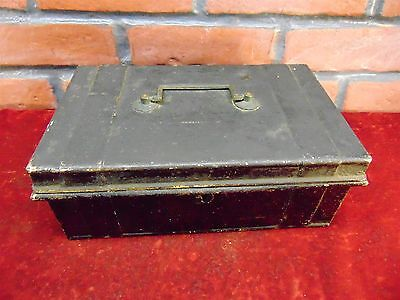 Antique 1800s BLACK STEEL CASH BOX Storage DOCUMENT Secret Compartment CONTAINER