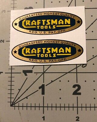 """Craftsman Tools vintage style decal 2-1/4"""" early blue gold yellow 1936 2 for 1"""