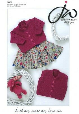 Jenny Watson Baby Long & Short Sleeved Cardigans DK Yarn Knitting Pattern 5021