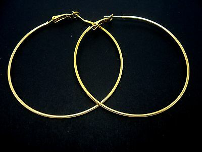 A Pair Of Gold Plated  Large 60Mm Large Hoop  Earrings. New.