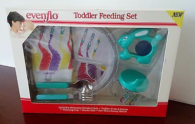 Evenflo Toddler Baby Feeding Set NEW vintage Box Dish Rattle 1991 TV Movie Prop