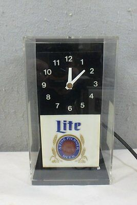 VINTAGE 1960's MILLER LITE BEER ADVERTISING LIGHT-UP BAR WORKING CUBE CLOCK SIGN