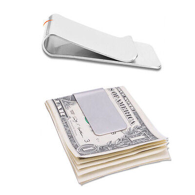 Stainless Steel Slim Metal Silver Money Clip Cash Note Credit Card Holder Wallet