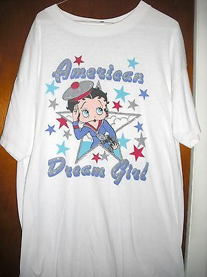Vintage 1990 K.f.s.fleischer Studios Betty Boop American Dream Glitter Tee Shirt