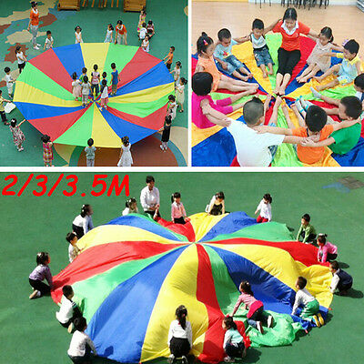Kids Childrens Play Rainbow Parachute Outdoor Game Family Exercise Sport Toy