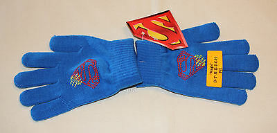 DC Comics Superman Boys Blue Printed Acrylic Gloves Size 12 - 16 New
