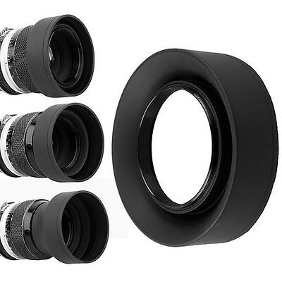 Rubber 3in1 Collapsible Lens Hood for Camera 52mm 52 Black