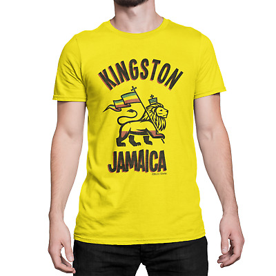 Kingston JAMAICA Mens Ringer T-Shirt Retro Birthday Gift
