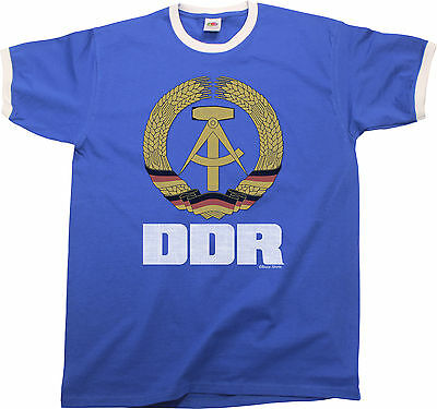 DDR East Germany Mens RINGER T-Shirt Retro Style Birthday Gift