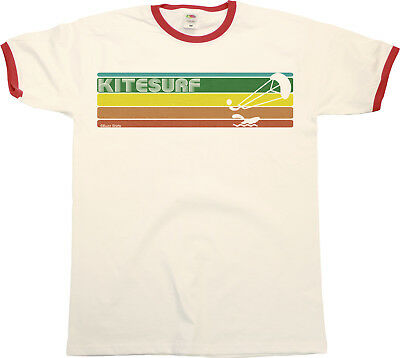 Retro KITESURF Strip Mens RINGER T-Shirt Kitesurfing Birthday Gift