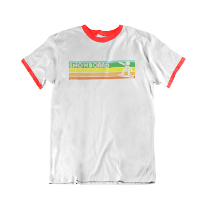 Retro SNOWBOARD Strip Mens RINGER T-Shirt Snowboarding Birthday Gift