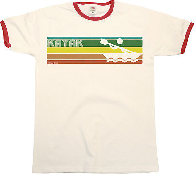 Retro KAYAK Strip Mens RINGER T-Shirt Kayaking Fashion Birthday Gift