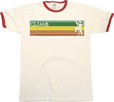 Retro CLIMBING Strip Mens RINGER T-Shirt Rock Climbing Birthday Gift