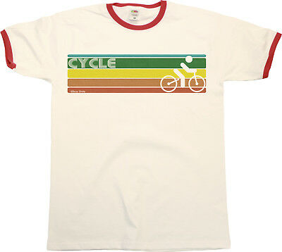 Retro CYCLING Strip Mens RINGER T-Shirt Retro Cyclist Birthday Gift