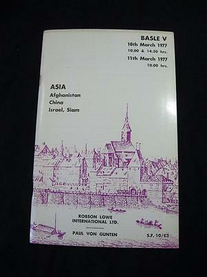 Robson Lowe Auction Catalogue 1977 Asia Afghanistan China Israel Siam