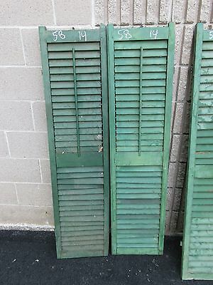 """PaiR c1900 antique victorian louvered house window SHUTTERS green 58"""" H x 14"""" B"""