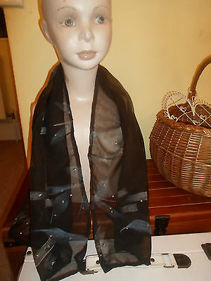 1 NEW Mixed Fibre Ladies Scarf BLACK+Silver Patterned Gift Idea #45 GOTH Fashion