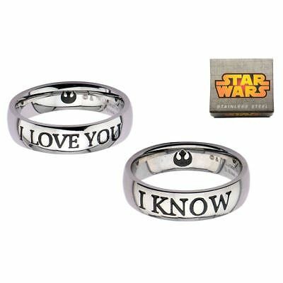 Official Star Wars I LOVE YOU and I KNOW Couple Ring Set - O an T 1/2 Boxed