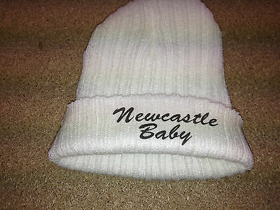 EMBROIDERED babys personalised FOOTBALL  hat with NEWCASTLE BABY  FREE P&P