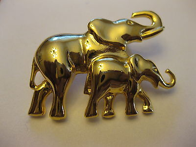 Elephants Pin Brooch Gold Tone