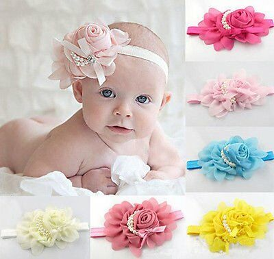 8pcs Kids Girl Baby Toddler Infant Pearl Flower Headband Hair Band Accessories