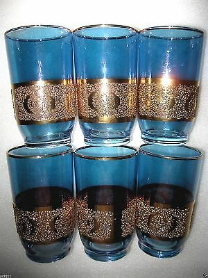 6 Glasses Drink Juice / Water Blue / Heavy Gold Gild  Vgc