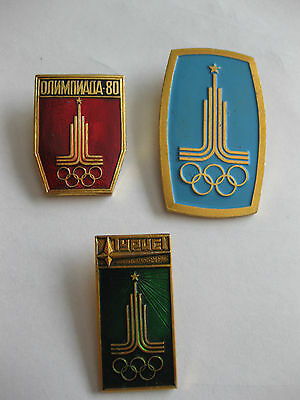 1980 Olympic Games Moscow offical logo pin set of 3