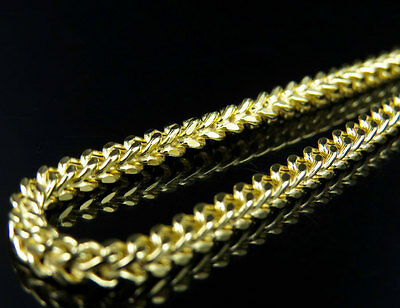 """24/""""925 STERLING SILVER GOLD SMOOTH FRANCO BOX CHAIN NECKLACE 2MM 11g E922"""