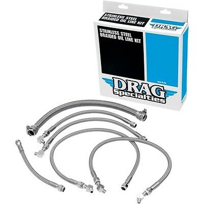 Stainless Steel Braided Oil Line Kit     Drag Specialties 606007