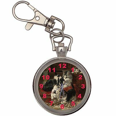 New Cats And Mirror Key Chain Keychain Pocket Watch