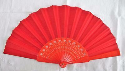 VINTAGE 1970's PIERCED BRIGHT RED PLASTIC & RED FABRIC FAN