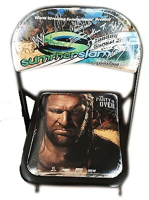 Wwe Summer Slam Hand Signed Ppv Autographed By 9 Pay Per View Chair With Coa