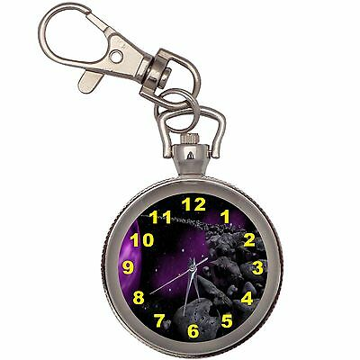 New Purple Planet And Ring Key Chain Keychain Pocket Watch