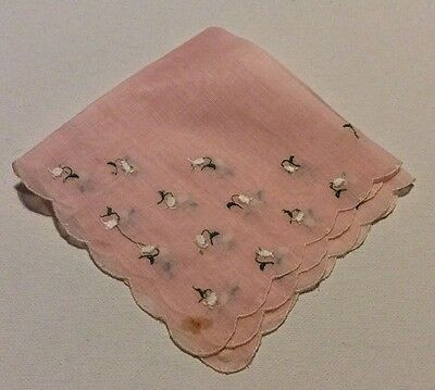 Vintage Pink With White Embroidery Flowers Ladies' Hankie/handkerchief