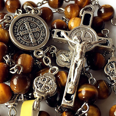 Nice Tiger Eye Beads St. Benedict Rosary Catholic Necklace Cross Crucifix Gifts