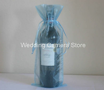"""12 Quality blue Organza Bags -Bottle/Wine bags, Gift bags 6x14"""""""