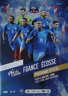 off. Programme 4/6/2016 France Frankreich vs Scotland Schottland in Metz