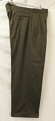 Men's 1940's Brown Check High Fishtail Trousers WWII reenactment Lindy Hop WW2