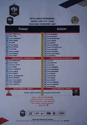 Team Sheet 4/6/2016 France vs Scotland
