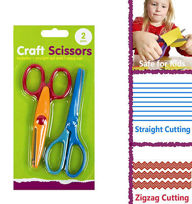 2 x Craft Scissors Set - Decorative Borders Straight Zig Zag Wavy Cut Art Kids