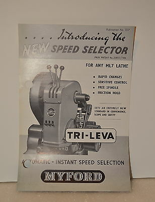 MYFORD Introducing the NEW SPEED SELECTOR Tri-Leva Lathe 1956 Catalog (JRW #009)