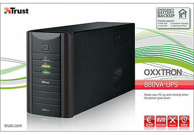 Trust 17938 800Va Oxxtron Battery Backup Ups, 3 Yr Warranty
