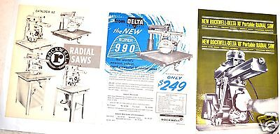 1960's ROCKWELL RADIAL ARM SAW CATALOG . R-65 & 3 RADIAL SAW FLYERS #RR27