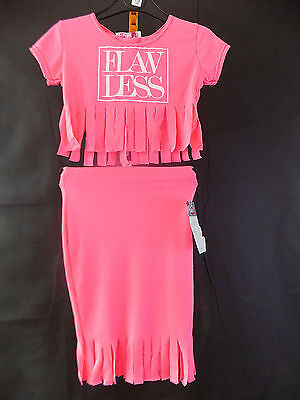 Girls Bnwt,neon Pink Fringed Hem Skirt And Cropped Top,holiday,party