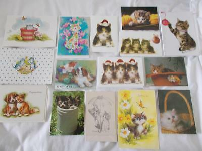 Lot of 15 VINTAGE 1950 & up CAT Kitten GREETING CARDS NEW NOS Unused w/ENVELOPES