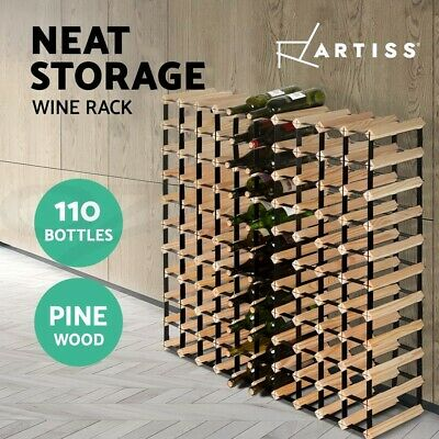 Artiss 110 Bottle Wine Rack Storage Timber Wooden Racks Glass Holder Organiser
