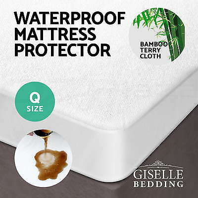 Fully Fitted Waterproof Mattress Protector Bamboo Fibre Cover Queen