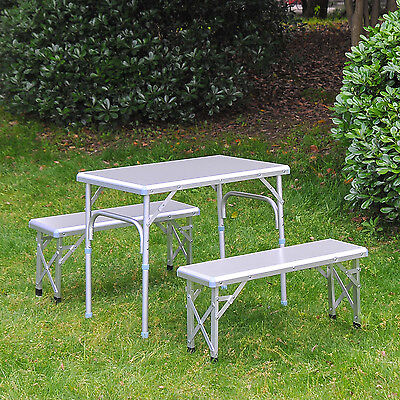 Outsunny Adjustable Alu. Folding Picnic Table Bench Set Outdoor Camping BBQ