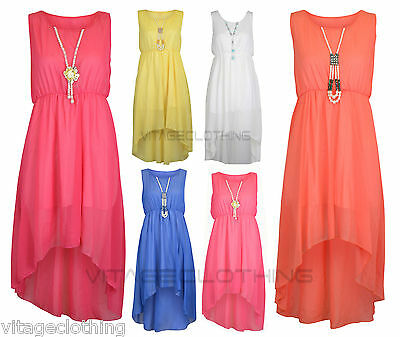 Girls Sleeveless Chiffon Asymmetrical Uneven Hem Dress with Free Pearl Neckless