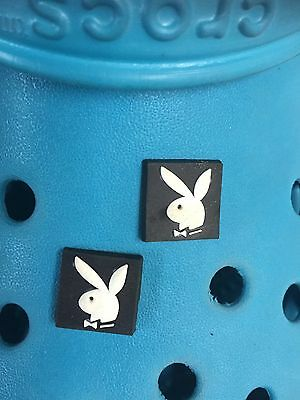 2 Playboy Bunny Shoe Charms For Crocs and Jibbitz Wristbands. Free UK P&P.